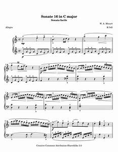 Piano Sonata No.16 Movement 1, k545 free sheet music by ...
