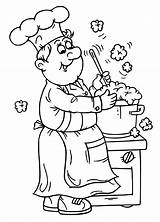 Chef Coloring Pages Printable Cartoon Getcoloringpages Cook sketch template