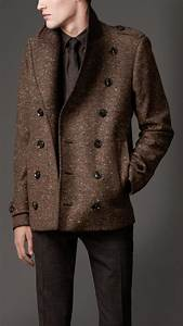 lyst burberry wool blend cropped pea coat in brown for men With brown pea coat mens