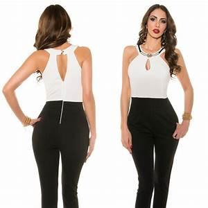 Combinaison Femme Noir Et Blanc : combinaison femme fashion iris double jeu de couleur blanc noir ~ Melissatoandfro.com Idées de Décoration