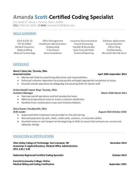 Coder Resume by Certified Biller Coder Resume Awesomethesis X