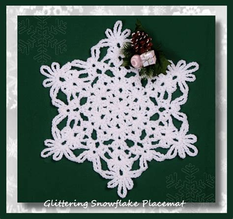 snowflake placemats glittering snowflake placemat crochet christmas snowflake placemat pattern