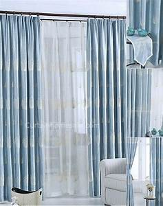 Light blue chenille country curtain embroidered with for Light blue patterned curtains