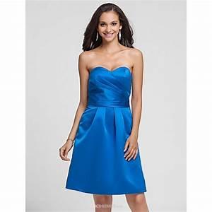 Knee-length Satin Bridesmaid Dress - Royal Blue Plus Sizes ...