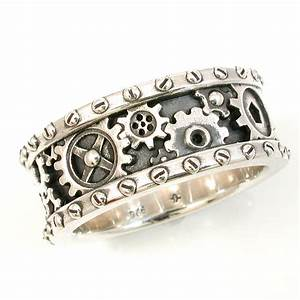 steampunk mens silver ring gears and rivets industrial With gear mens wedding ring
