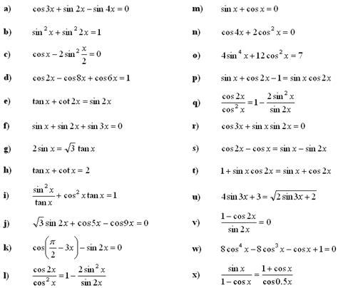 math exercises math problems trigonometric equations