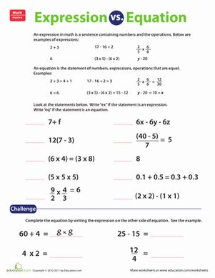 expression vs equation worksheet education