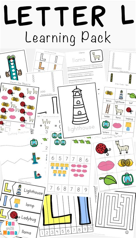 letter l worksheets words with 386 | Letter L Learning Pack a