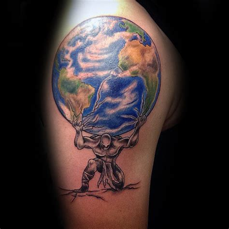 colored man holding earth tattoo  body  men