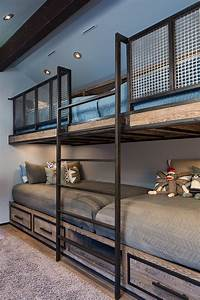Built in Bunk Beds for a Farmhouse Bedroom with a Ceiling