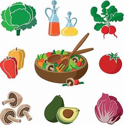 Salad Vector Dressing Ingredients Bowl Clip Illustrations