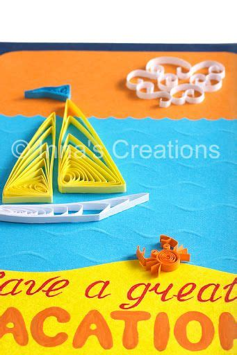 project   great vacation card   quilled crab
