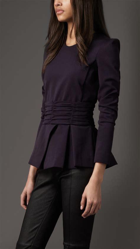 burberry blouse burberry pleated peplum jacket in black true navy lyst
