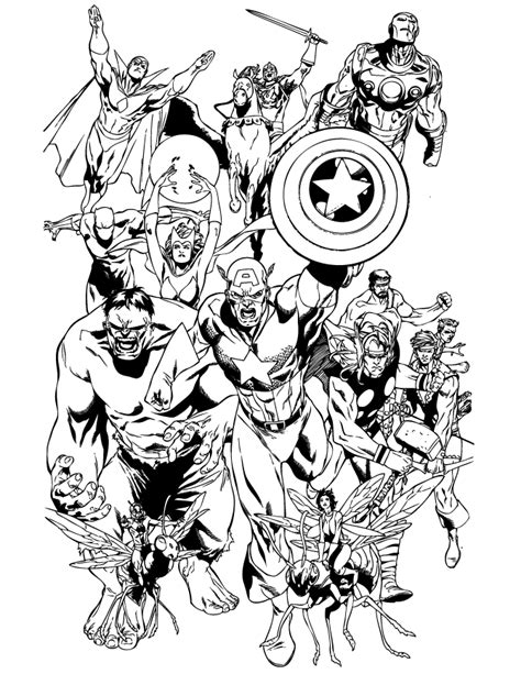 coloring pages classic avengers team coloring page h