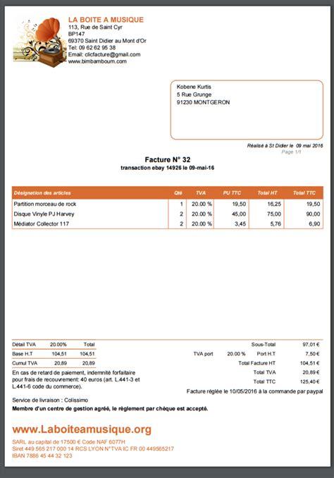 exemple de facture ebay