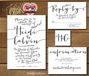 printable wedding invitation suite w0220 in hand With hand lettered wedding invitations
