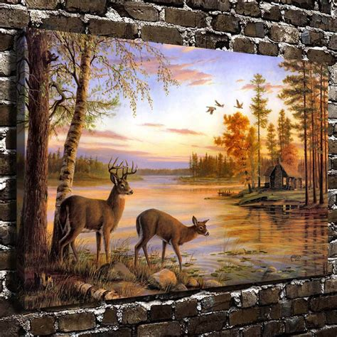 natural scenery animal  deer hd canvas print