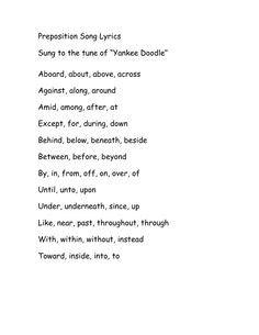 hs recitations images preposition song