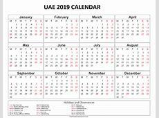 Get Blank 2019 Calendar With UAE [Dubai] Holidays