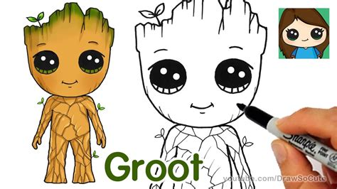 draw groot easy guardians   galaxy youtube
