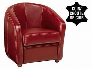 fauteuil cuir ponza coloris rouge promo fauteuil With fauteuil club rouge pas cher