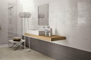 carrelage mural salle de bains 87 idees elegantes With salle de bain carrelage gris et blanc