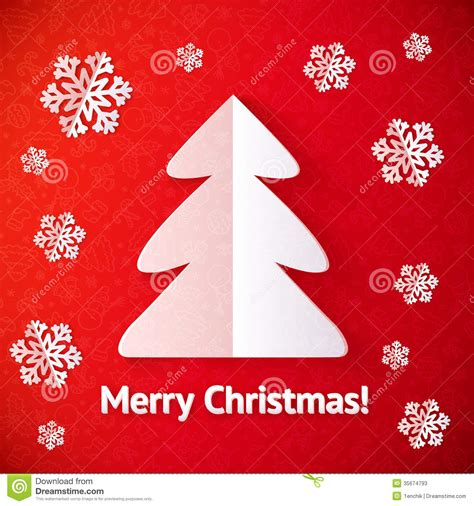 white paper cut  christmas tree greeting card stock