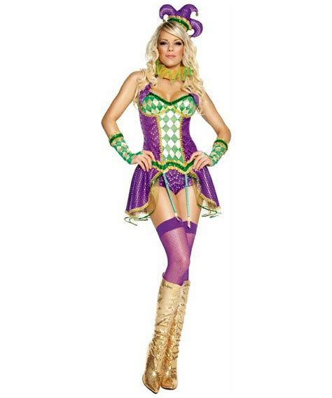 Adult Mardi Gras Tainted Harlequin Jester Sexy Costume