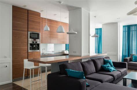 Einrichtung Kleiner Kuechekleine Kueche Mit Theke by Deko In Blau In Einer Modernen Apartment Inneneinrichtung