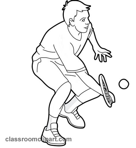 tennis player clipart black and white sports young man playing tennis 02 outline classroom
