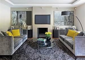 tapis shaggy gris beige ou blanc en 120 idees pour le salon With tapis shaggy avec mini canapé de chambre