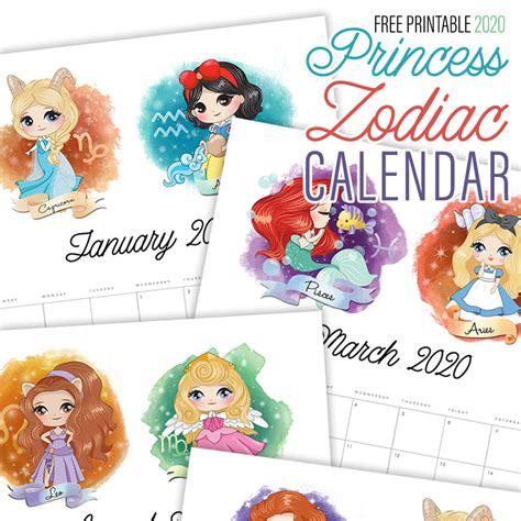 printable  princess zodiac calendar  cottage