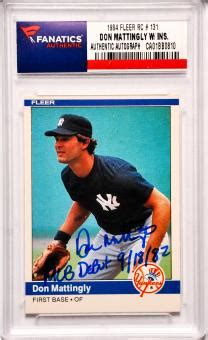 don mattingly rookie card don mattingly memorabilia autographed signed