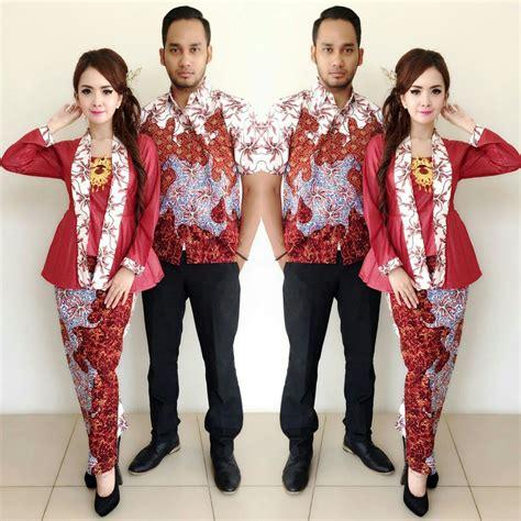jual baju batik couple kebaya sarimbit model khanza merah seragam pesta hijab modern kutubaru
