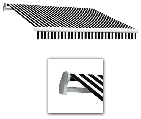 awntech projection black white striped slope patio