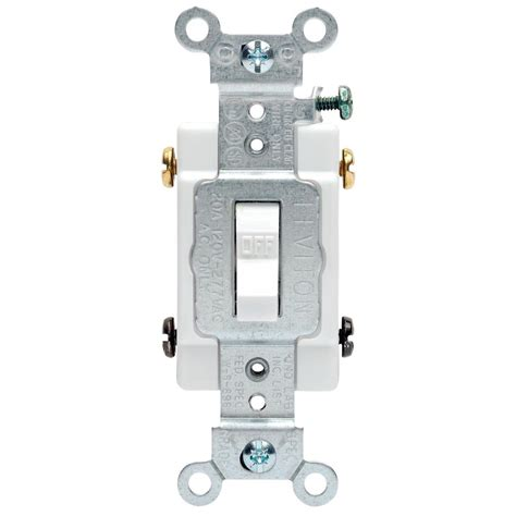 leviton 20 commercial double pole toggle switch white