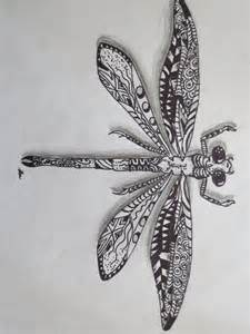 Zentangle Dragonfly Drawing