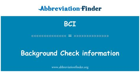 Bci Background Check Bci Definitie Background Check Information Afkorting Finder