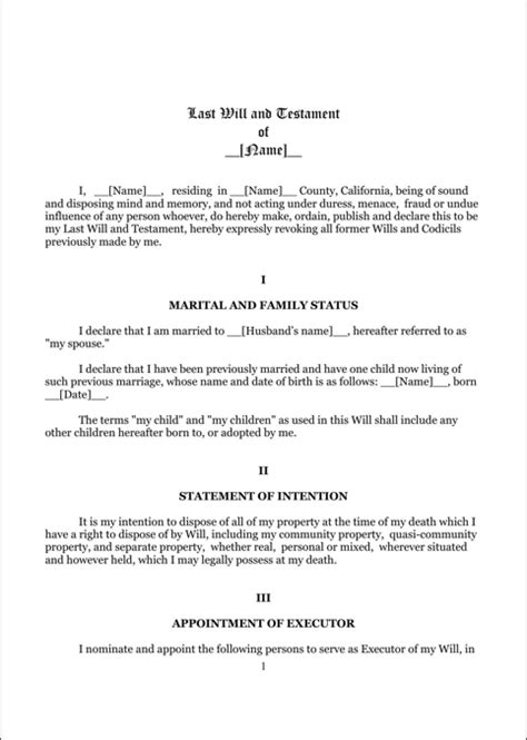 Last Will And Testament Template California by California Last Will And Testament Form For Free