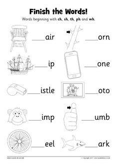 esl ch sh sound worksheets printable