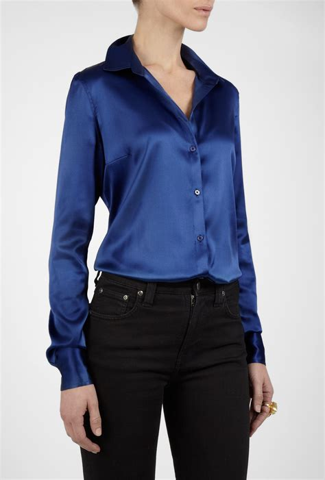 sleeve blouse joseph blue sleeve silk blouse in blue lyst