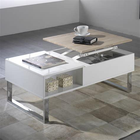 table basse rectangulaire en bois avec plateau relevable l100cm battle couchtisch