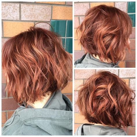 dimensional red color   textured bob haircut