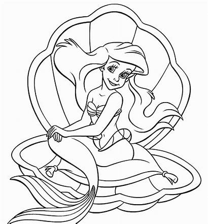 Ariel Coloring Pages Princess Mermaid Printable Disney