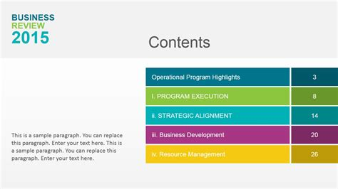 powerpoint table of contents template table of content of annual business review slidemodel