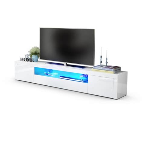 bureau design discount meuble tv moderne laqué blanc 200 cm avec led pour meubles