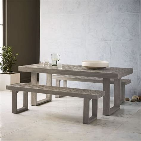 "Portside Outdoor Dining Table (76.5"")   Weathered Gray"
