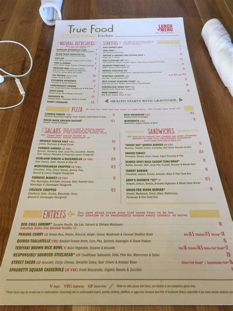 true food kitchen menu menu yelp