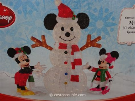 mickey minnie with snowman outdoor decoration mickey and minnie decorating the snowman
