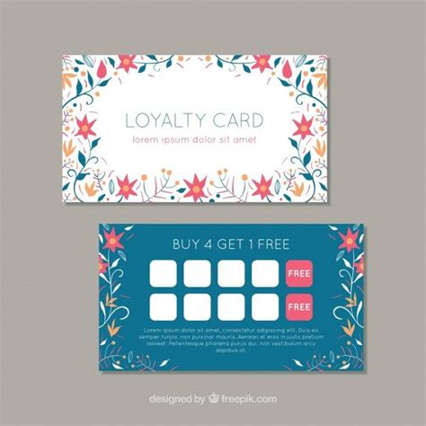 lovely loyalty card template  floral style